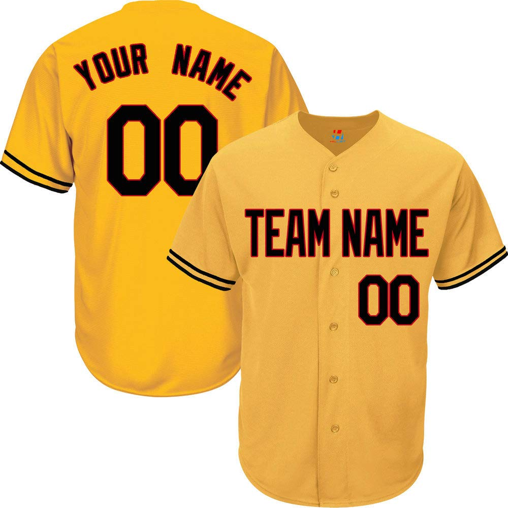 Yellow Customized Baseball Jersey for Men Button Down Stitched Team Player Name & Numbers,Black-Red Size S