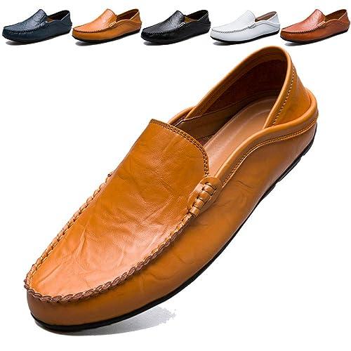 KAMIXIN Mocasines Hombres Zapatos de Vestir Casuales Holgazanes Slip On Verano Plano Cuero Zapatos de Conducción Zapatillas