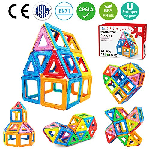 Jasonwell 42 PCS Magnetic Tiles Building Blocks Boys Girls Magnetic Building Set Preschool Educational Construction Kit Magnet Stacking Toys Kids Toddlers Children