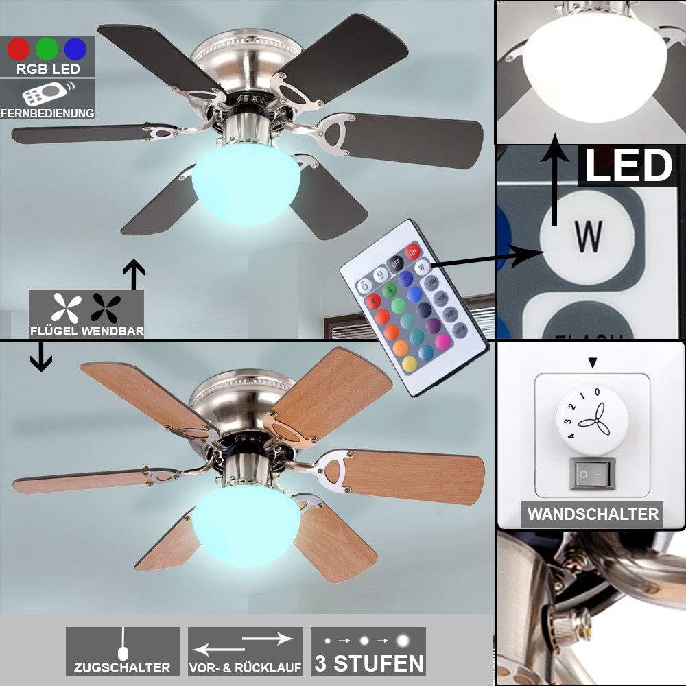 LED Decken Ventilator RGB FERNBEDIENUNG Lüfter Flügel wendbar Glas Lampe dimmbar