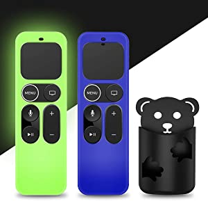 [2 Pack] Glowing Protective Case for Apple TV Siri Remote 4K, 4th/5th Gen Remote, Anti Slip [Skin-Friendly] Silicone Cover for Apple TV Siri Remote Controller[Holder Included] (Blue&Green)