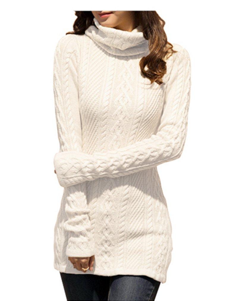 v28 Women Polo Neck Knit Stretchable Elasticity Long Sleeve Slim Sweater Jumper (US Size 0-4, White)