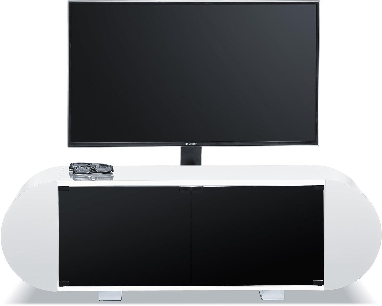 Centurion Supports Andora Complet Doux Ovale Blanc Brillant Meuble  # Meuble Tv Hifi Ovale Blanc