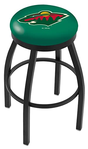 Minnesota Wild HBS Black Swivel Bar Stool with Green Cushion (25