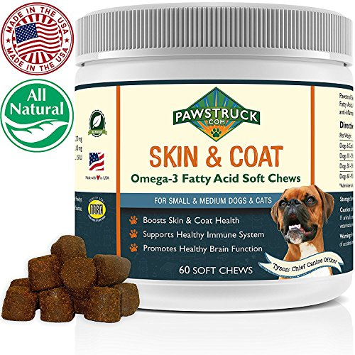 Natural Omega 3 Fish Oil for Dogs & Cats Soft Chew Supplement (Small & Medium Dogs/Cats, 60 CT) w/ Omega-3 Fatty Acids, EPA, DHA, Vitamin E for Healthy Skin, Coat, Joints & Brain Function, Made in USA (Organic Treats Skin & Coat)