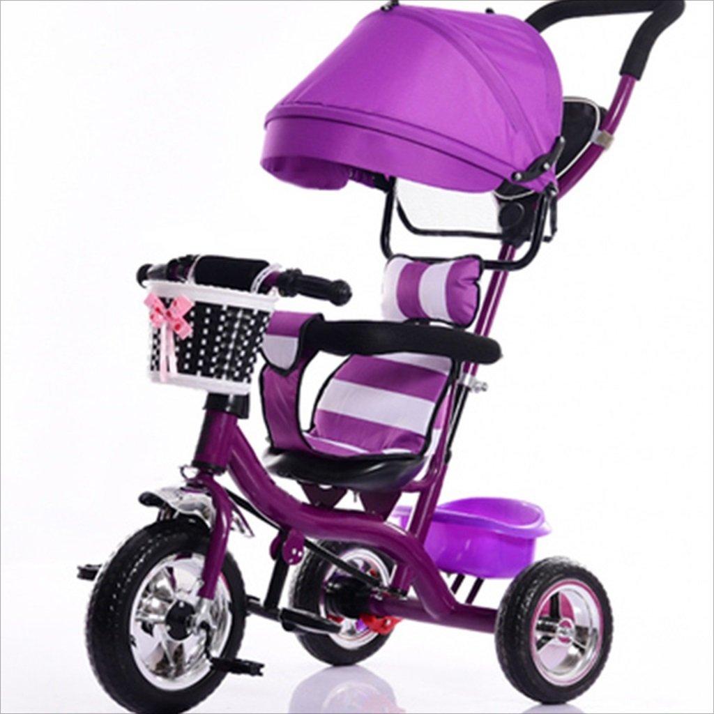 子供用屋内屋外小型三輪車自転車の男の子の自転車の自転車7ヶ月-6歳の赤ちゃんの3つのホイールトロリー、天幕、泡ホイール/後輪ダブルブレーキ (色 : 2) B07DVDHSR8 2 2
