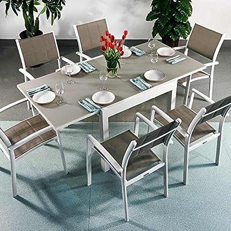 aluminium Chloe Chaises Milly Table verre 6 BLANC et et q54j3ARL