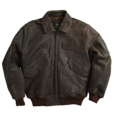 1d1a67d0d Alpha Industries CWU 45/P Leather Jacket- Brown 2XL at Amazon Men's ...
