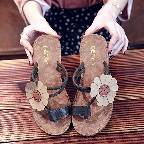 ITTXTTI Las Sandalias de Las Mujeres Flip-Flops Salvajes de la Manera del Verano Llevan el Plano Plano con el Estilo Nacional Casual Retro Zapatos literarios Súper Agradable! B