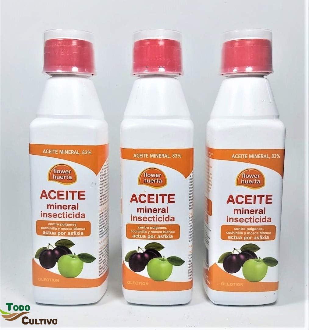 Todo Cultivo Aceite de Invierno Oleotion 3 uds. de 250 ml. Insecticida de Aceite de parafina. Tratamiento Troncos y cortezas de arbol.