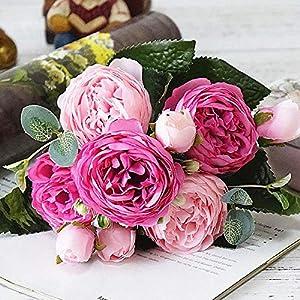 CoronationSun - Artificial Bouquet Peony - 5 Big Heads/Bouquet Peonies Artificial Flowers Silk Bouquet 4 Bud Wedding Home Decoration Fake Peony Rose Flower 32