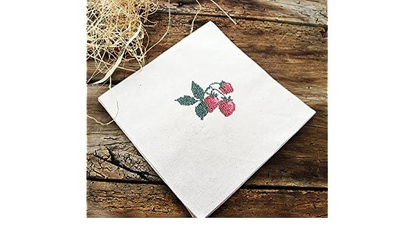 Monogram Floral Napkins Cocktail Napkins Custom Embroidered Napkins Organic Cotton 6 Wedding Napkins Personalized Party Beverage Napkins