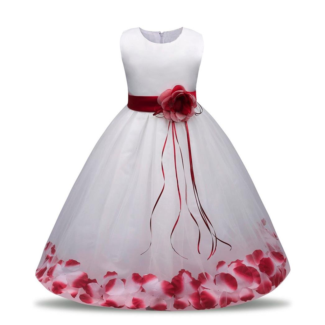 Hongxin Girls Floral Bowknot Princess Formal Dress Kids School Evening Prom Party Bridesmaid Wedding Pleated Skirt