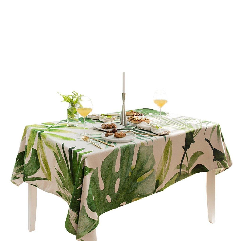 GBBD Tovaglie Tovaglia da tavola di Lino di Cotone di pianta verde Fresca Copertura Tavolo (colore   A, Dimensioni   140  220cm)