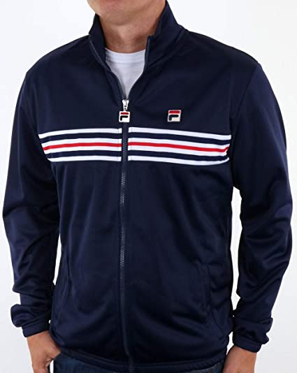 c7deabde82 Fila Vintage Chest Striped Track Jacket Navy L: Amazon.co.uk: Clothing