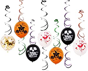 JINMURY Scary Halloween Party Decor Balloons Ceiling Swirl Hanging Decoration Horror Party Supplies