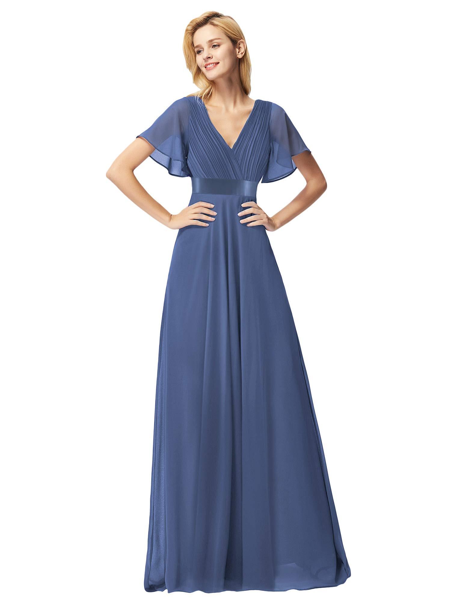 Ever-Pretty Women\'s Plus Size V-Neck Empire Waist Floor Length Bridesmaid  Dress Prom Dresses Blue US20