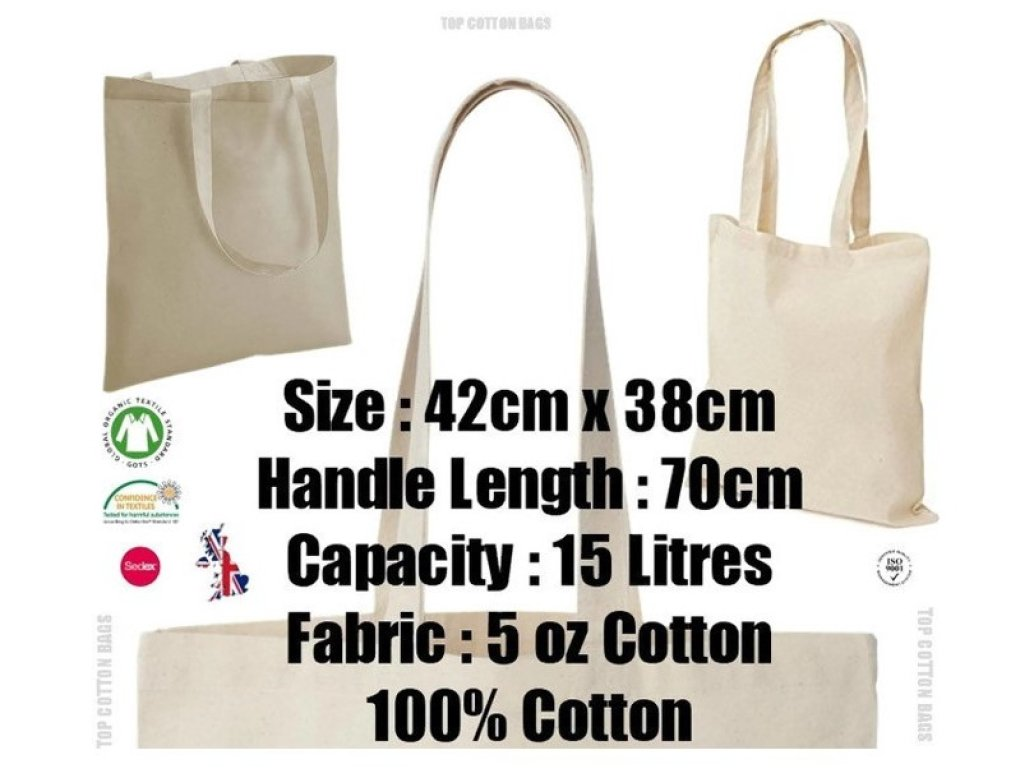 5770f2d4773 10 x Natural 5oz Cotton Shopping Tote Bags - Shoppers - ideal for Printing  or Fabric Painting: Amazon.co.uk: Luggage