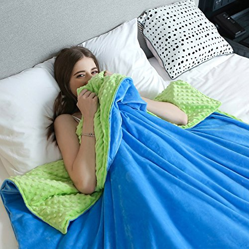Weighted Idea Removable Duvet Cover for Weighted Blanket - Green/Blue - Super Soft Minky Duvet Cover (60''x80'')