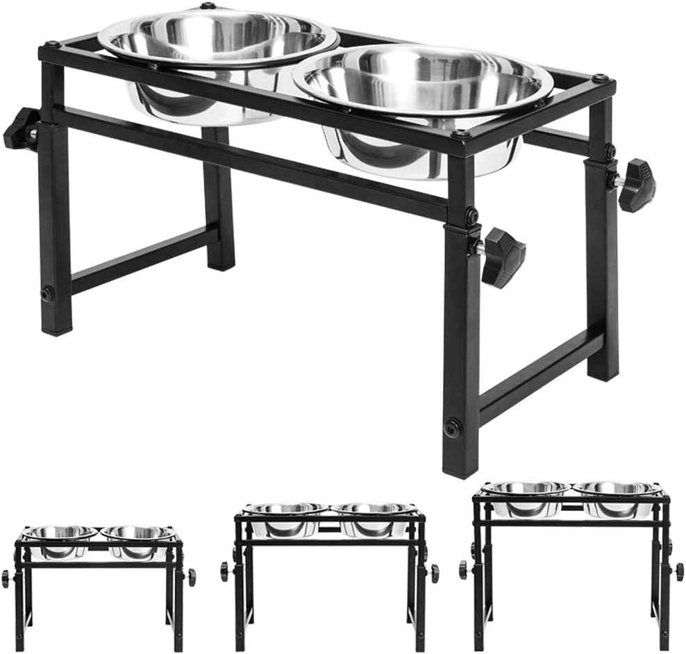 Adjustable Raised Pet Bowls - for Dogs and Cats - Elevated Stainless Steel Pet Feeder with 2 Bowls, Available in 16 inch, 11.8 inch, 6 inch for Small Medium Large Dogs