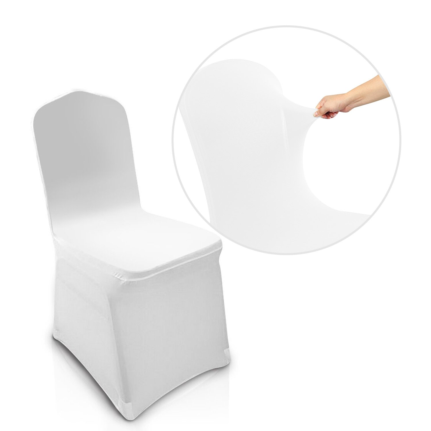 COOCHEER White 100pcs Chair Covers Spandex/Lycra Metal & Plastic Folding Decoration For Wedding, Banquet, Party by COOCHEER