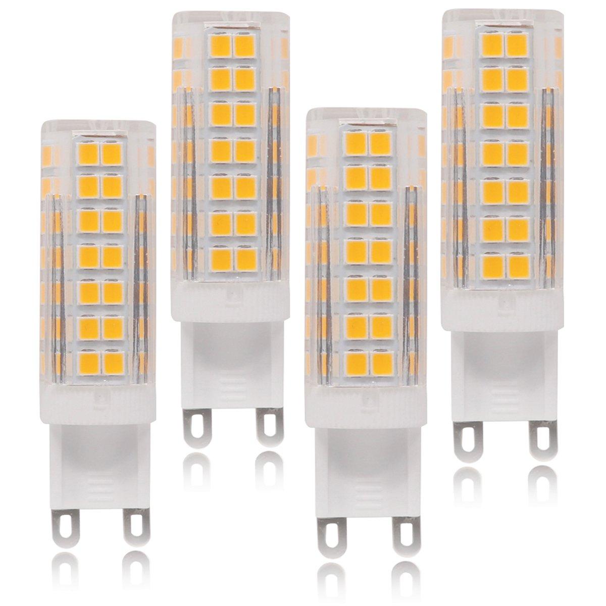 LED G9 Light Bulbs, 6.5W(60W Halogen Bulbs Equivalent) 600LM, Warm White(3000K), G9 Bi-pin Base Bulbs for Indoor Lighting(4-Pack)