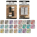 Mini Ink Blending Tool with Replacement Foams by Ranger - 23 Full Size Distress Oxides Ink Pads - Perfect Set for Applying Ink