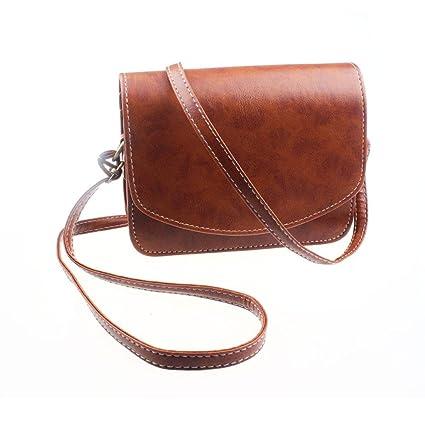 AOLVO Bolsas pequeñas para mujer piel con forma de sobre, estilo vintage, antirobo, bolso de hombro para mujer (azul, negro, marrón oscuro, marrón ...
