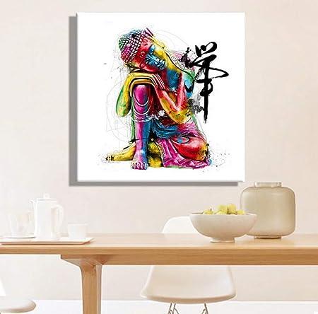 Hxqq Hd Imprimer Peinture Coloré Bouddha Peinture à L Huile