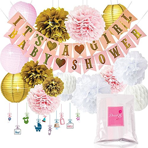 Decor8 Baby Shower Decorations ITS A GIRL & BABY SHOWER Banners, Lanterns, Pom Poms, and Honeycomb Balls. FREE Printable Decoration eBook. Pink Rose Cream Gold & White Nursery Room Decor for Babies