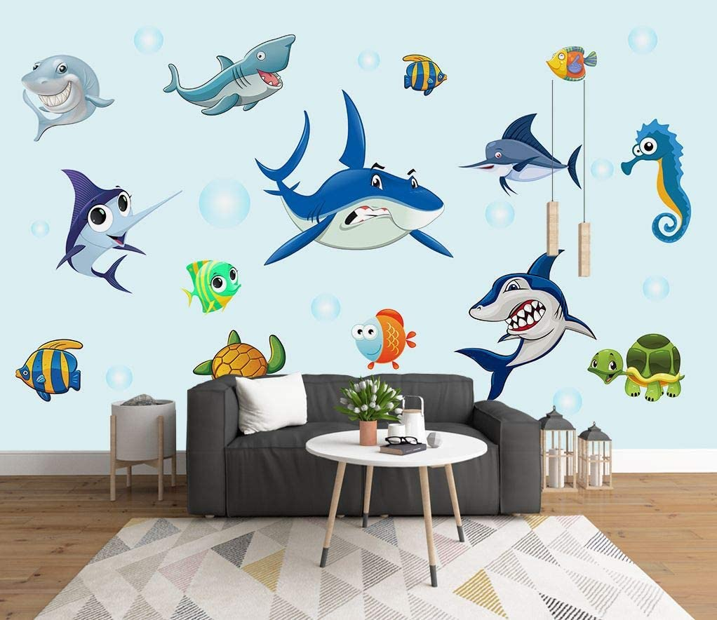 Supzone Fish Wall Stickers Under The Sea with Shark Turtle Fish Peel and Stick Wall Decor Girls Baby Bedroom Kids Nursery Bathroom Wall Decals