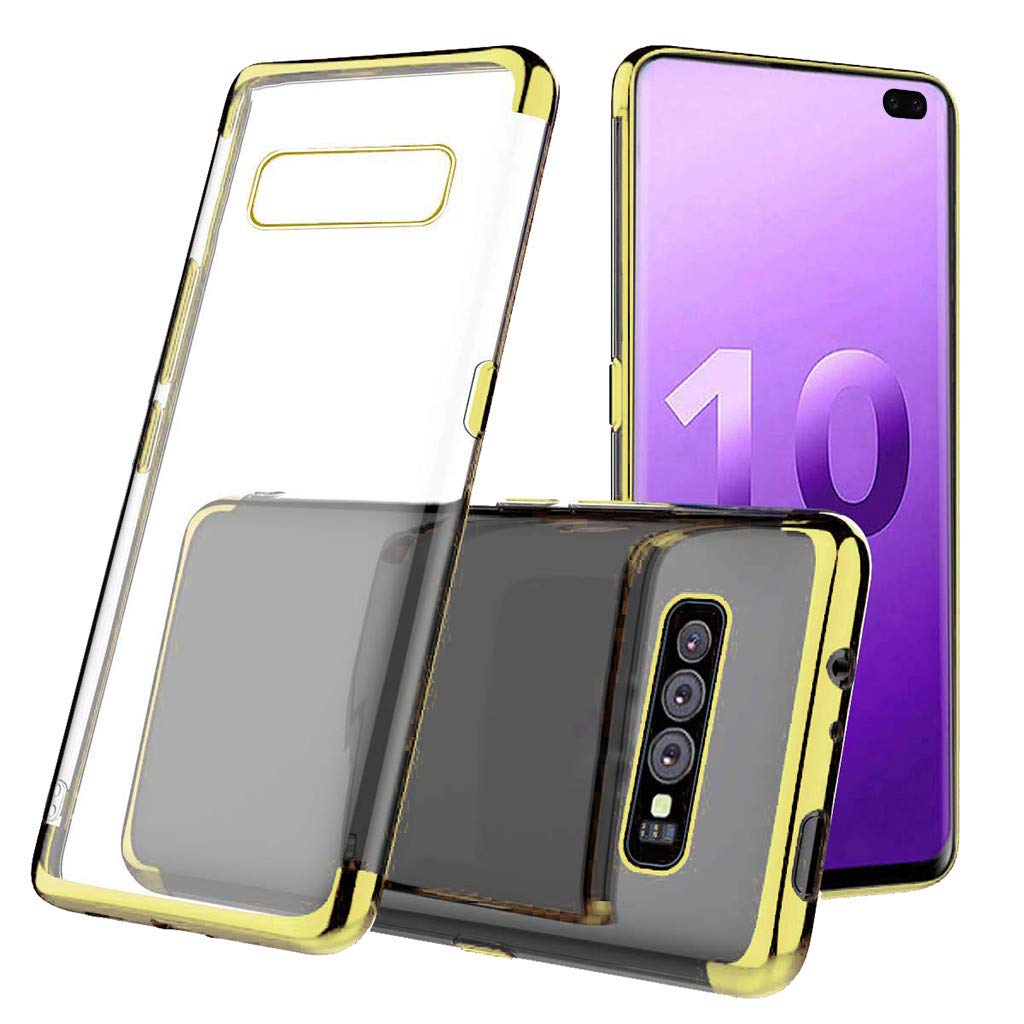Waterproof-Case-with-Built- Screen-Protector,For Samsung-S10-Plus 6.3inch-Clear-Case-Protective TPU Gel Cover (Gold)