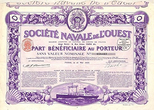 1923 FR HUGE & STUNNING 1923 FRENCH NAVIGATION BOND w SHIP, SEAHORSES, ALL COUPONS! PRSITINE WORK OF ART FOR FRAMING! 500 Francs seller