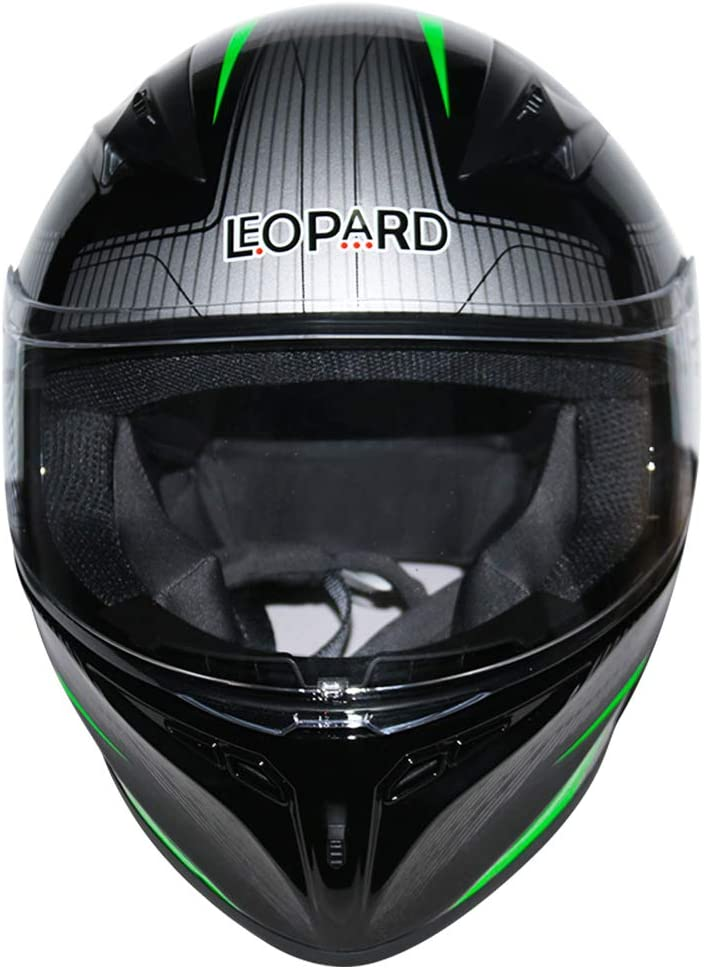 Leopard LEO-813 Full Face Motorcycle Helmet Blue//Black//Silver M 57-58cm - Motorbike Helmet ECE 2205 /& DOT Approved