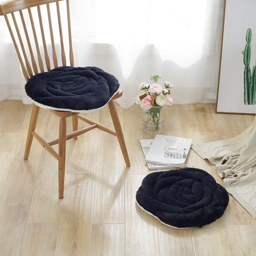 seat cushion Cojines De Silla De Felpa,Fluffy Suave No Era-Slip Aliviar El Dolor Forma Color De Rosa Cubierta De Silla para Sofá Dormitorio Asiento Silla De Ruedas Cojín-Negro 45x45cm(18x18inch)