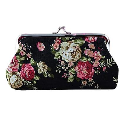 Amazon.com: Sunbona - Tarjetero para mujer, diseño de flores ...