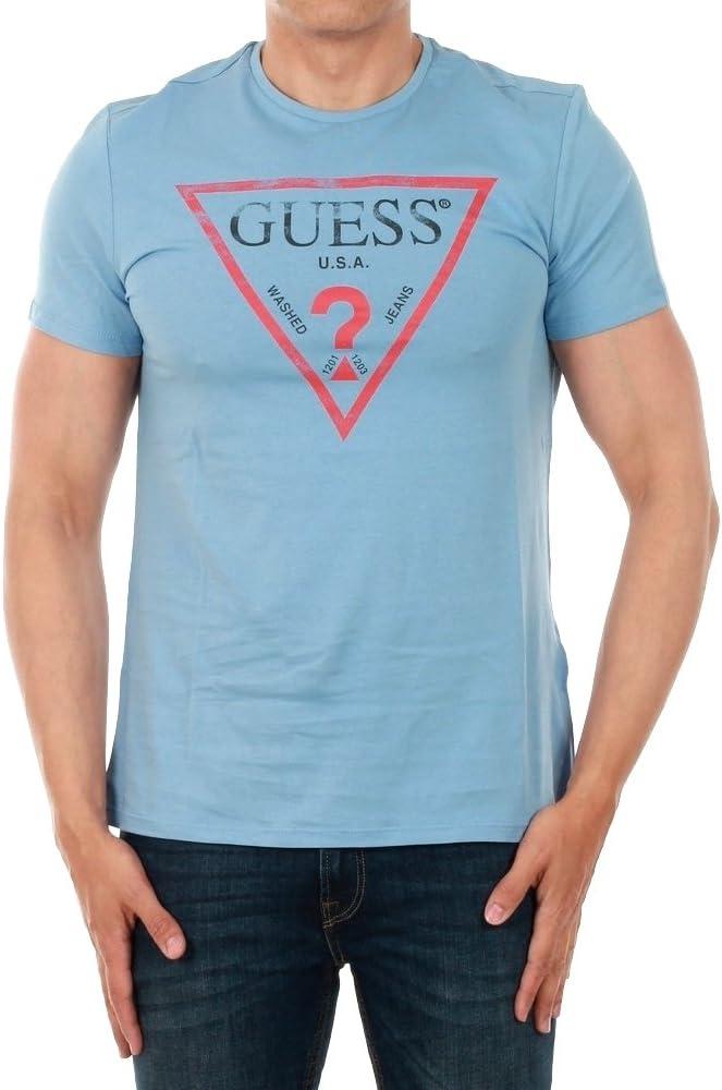 GUESS JEANS M81I13I3Z00 Camiseta con Las Mangas Cortas Hombre Azzurro MDVB 2XL: Amazon.es: Ropa y accesorios