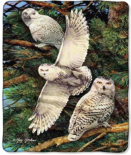 Northwest Raschel Throw Snowy Owls