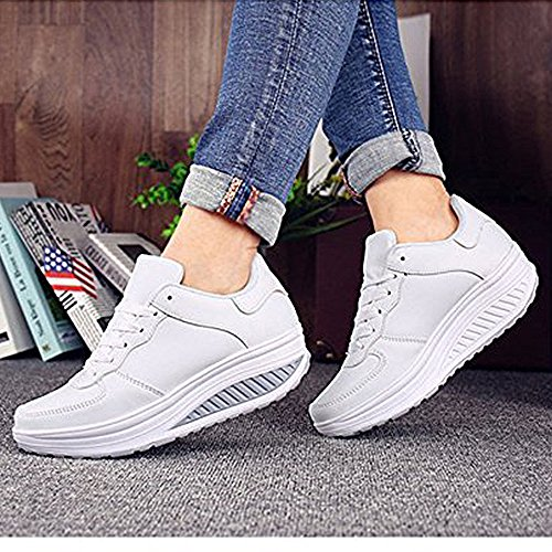 Blanco Blanco Running Mujer Negro Zapatos zhenghewyh Zapatillas Deportes Para 1AwYqY8
