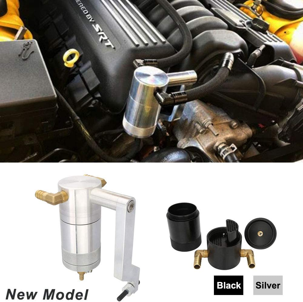 Kyostar New Model Oil Catch Can For Dodge Charger Challenger Chrysler 6.4L 5.7L HEMI with Technology Z-Bracket Scat Pack (Silver)