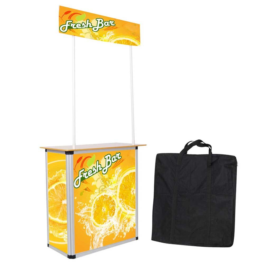 Popup Promotion Counter Table Booth Aluminum Frame Demo Display Kiosk Trade Show Yescom 35PDM005-WOOD-07