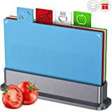 Chopping Board Set for Kitchen,Set of 4 Small Cutting Boards with Index Color Coded Food Icon, Non-slip BPA Free…