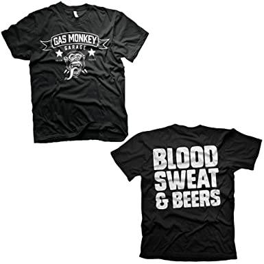 290d0ebd Gas Monkey Garage Blood Sweat and Beers Reverse Official Black Mens T-Shirt  (Small): Amazon.co.uk: Clothing