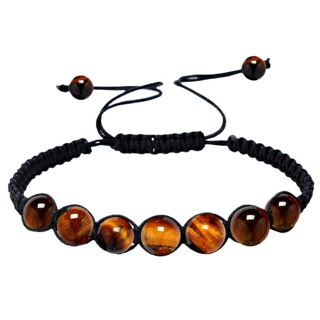 Bracelets, Multicolored Healing Agate Balance Beads Stone Rainbow Lucky 7 Chakra Yoga Life Energy Prayer Bracelet Unisex (C)