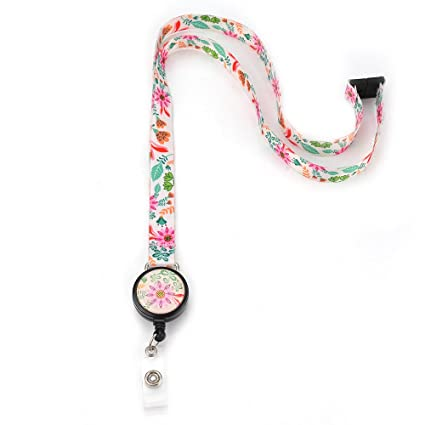 67dc62469c55 Grekywin Flowers Lanyard Keychain for Women, Neck Lanyards, ID Badge Holder  for Teacher, Students
