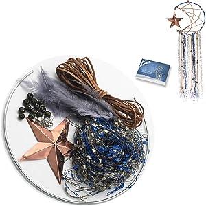 KPPKUEC Dream Catcher Craft,DIY Dream Catcher kit for Girls Moon Design Blue Wall Decor Catchers for Birthday Party Baby Shower Bridal Shower Wedding Nursery Baby Room Kids Xmas Gift Bedroom