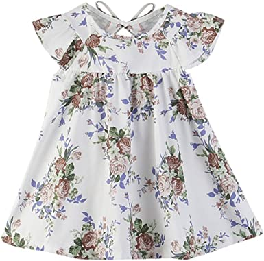 Baby Casual Dress,Fineser Kids Baby Girls Fly Sleeve Floral Print Princess Dress Toddler Loose Sundress Clothes 0-4T