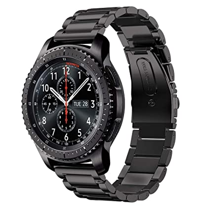 DD Correa para Samsung Gear S3, 22mm Acero Inoxidable Pulseras de Repuesto para Samsung Galaxy Watch/Gear S4 46mm Negro