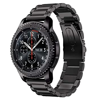 DD Correa para Samsung Gear S3, 22mm Acero Inoxidable Pulseras de Repuesto para Samsung Galaxy Watch/Gear S4 46mm Negro