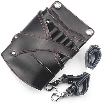 Muate Bolso De Tijera De Cuero Estuche De Tijeras Para El Cabello Cinturón De Cintura Paquete De Peluquero Salón De Peluquería Kit De Tijeras, Negro: Amazon.es: Bricolaje y herramientas